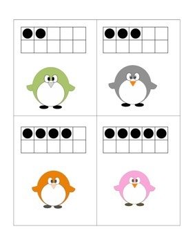 Penguin Math Centers Ten Frames, Comparing Numbers, Roll and Graph