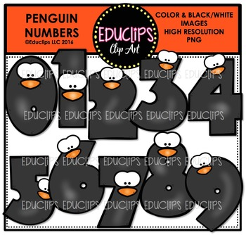 Penguin Math Clip Art Mega Bundle  {Educlips Clipart}