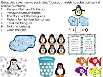 Penguin Math Games for Kindergarten