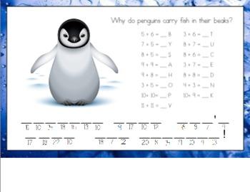 Penguin Math Riddle for Smart Board