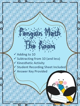 Penguin Math The Room - Adding and Subtracting to 10 - Kinesthetic Math