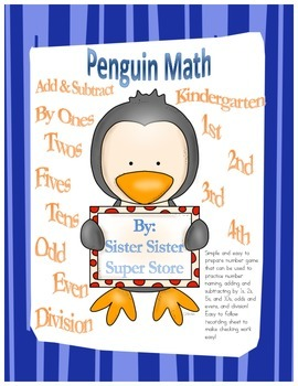Penguin Math (add, subtract, odd, even, and division easy to prepare game)