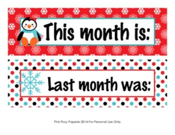 Penguin Monthly Calendar Headers