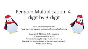 Penguin Multiplication: 4-digit by 3-digit