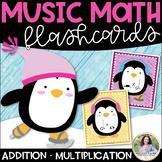 Music Math Flash Cards: Addition & Multiplication {Winter Penguin Theme}