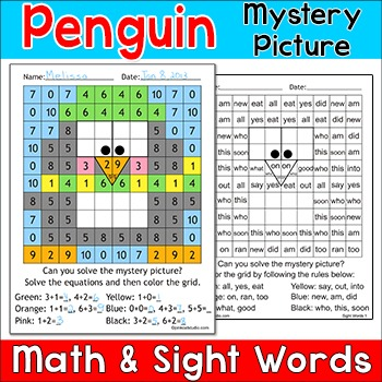 Penguin Math & Sight Words Mystery Picture
