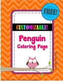 FREE Winter Fun! Penguin Coloring Page (Customizable!) - Word Doc!