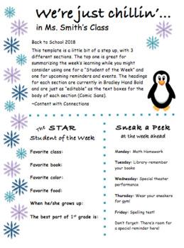 Penguin Newsletter for Winter: 3 Designs, all Editable!