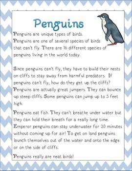 Penguin Non Fiction Article with Main Idea Summary Activities