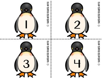 Penguin Number Fluency Cards | English | 1-10
