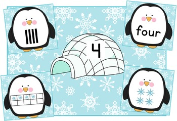 Penguin Number Match 1 to 5 freebie