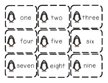 Penguin Number Match-Up (Black & White Version) FREEBIE