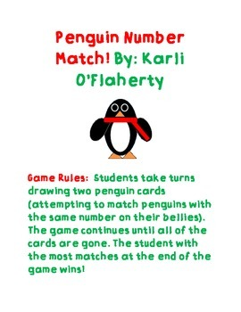 Penguin Number Match with Word Prompts