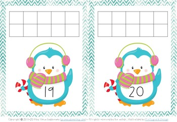 Penguin Number Mats - Numbers 1-20 {C and B&W}