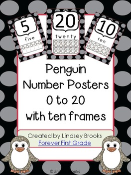 Penguin Number Posters (0 to 20) with Ten Frames