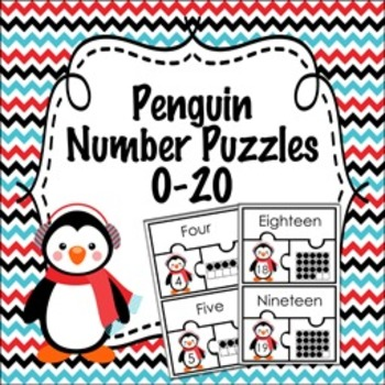 Penguin Winter Number Puzzles  0-20 ( Number Name ,  Number and Ten Frame )