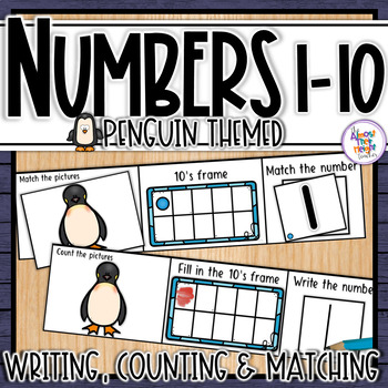 Penguin Number Sense 1-10  counting, matching, reading & writing numbers 1-10