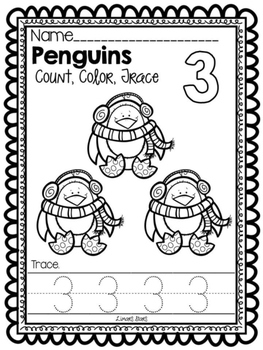 Penguin Numbers 1-10: Count, Color, & Trace