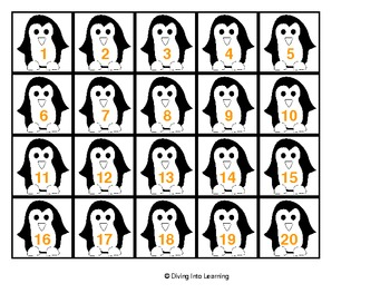 Penguin Odd and Even Numbers 1-20 Sorting