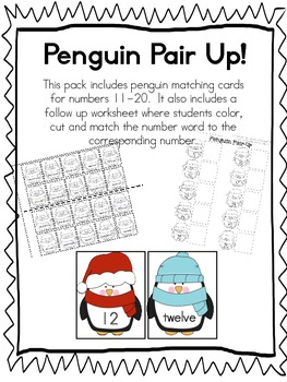 Penguin Pair Up- Matching numbers to number word