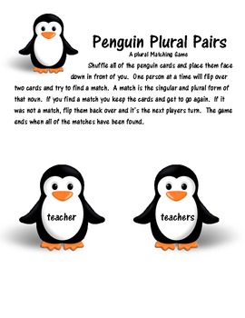 Penguin Pairs  Adding -s