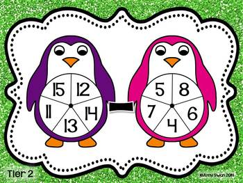 Penguin Pals DIFFERENTIATED Addition & Subtraction Spinner Games