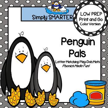 Penguin Pals:  LOW PREP Letter Matching Play Dough Mats