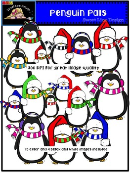 Penguin Pals {Sweet Line Design Clipart}