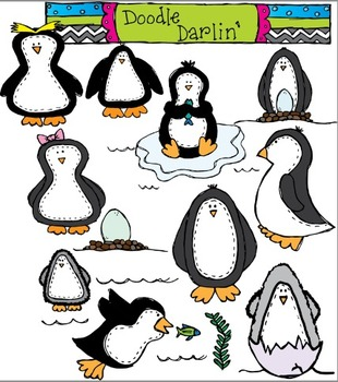 Penguin Parade COLOR Clipart Set
