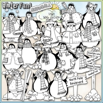 Penguin Party Clip Art - Penguin Clip Art - Winter Clip Art - CU Clip Art & B&W