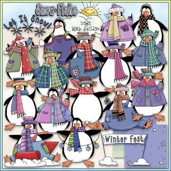 Penguin Party Clip Art 2 - Penguin Clip Art - Winter Clip