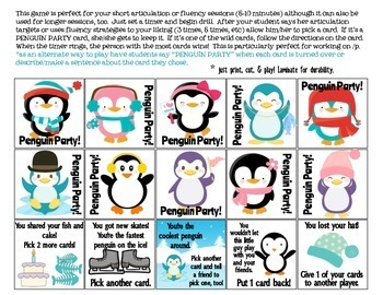 Penguin Party Quick Drill {for articulation or fluency therapy & RTi}