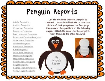Penguin Party!  Research Project, Creative Writing, Crafts, Glossary of Terms
