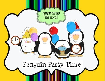 Penguin Party Time Elapsed Word Problem Center