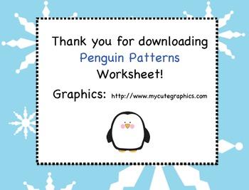 Penguin Patterns Worksheet (Cut-Paste-Color)