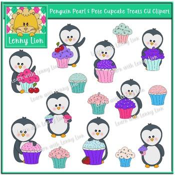 Penguin Pearl & Pete Cupcake Treats CU Clipart
