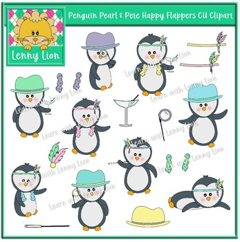 Penguin Pearl & Pete Happy Flappers CU Clipart