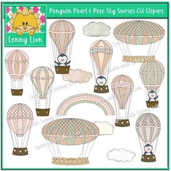 Penguin Pearl & Pete Sky Stories CU Clipart