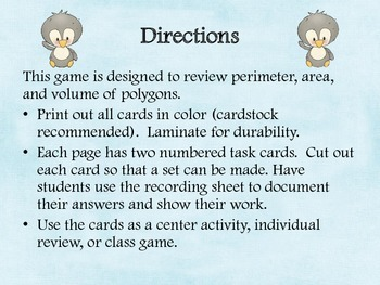 Penguin Perimeter, Area, and Volume Task Cards