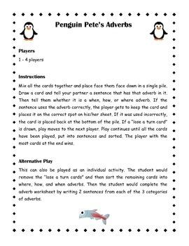 Penguin Pete's Adverb Sort