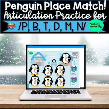 Penguin Place Match! Articulation Early Sounds Boom Cards Distance Learning