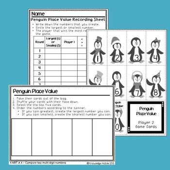 Penguin Place Value - 4.NBT.A.2 - Comparing Multi- Digit Numbers