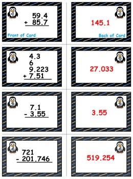 Winter Math Skills & Learning Center (Add & Subtract Decimals)