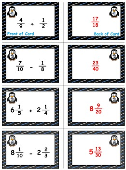 Winter Math Skills & Learning Center (Add & Subtract Unlike Fractions)