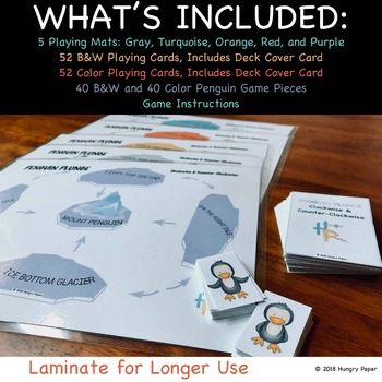 Penguin Plunge: Clockwise & Counter-Clockwise Mat Game for PreK to 1st
