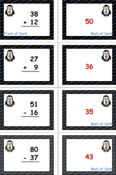 Penguin Plunge Game Cards (Add & Subtract Within 100) Sets 4-5-6