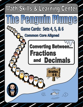 Penguin Plunge Game Cards (Converting Fractions to Decimal