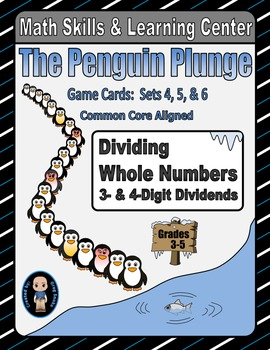 Penguin Plunge Game Cards (Division of 3-&4-Digit Dividend