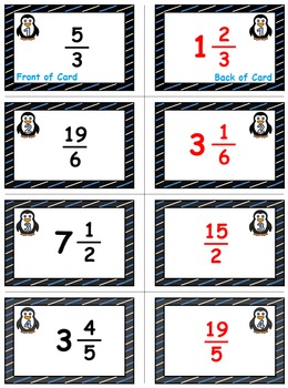 Penguin Plunge Game Cards (Improper Fractions & Mixed #'s) Sets 4-5-6
