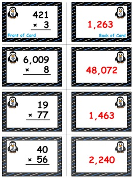 Penguin Plunge Game Cards (Multiply Whole Numbers) Sets 4-5-6